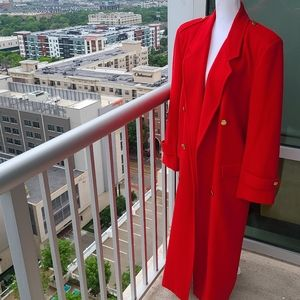 Vintage Burberry Red Long Wool Coat XL